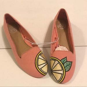 New Sonoma Peach Pink Lemon Flats Size 6 NWT
